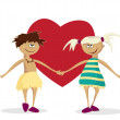 Stock Vector: Boy and girl against heart.