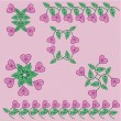 Royalty-Free Stock 矢量图片: Set with flowers-hearts