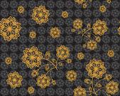 Golden flowers on black — Stock Vector