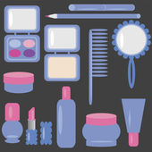 Set with cosmetics and make-up — Stock Vector