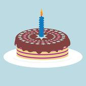 Tårta med ljus — Stockvektor