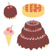 桜のケーキ、パイ、アイスクリーム — ストックベクタ