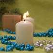 Christmas candles and gift — Stock Photo