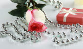Rosebud with drop of water and gift — Stock Photo