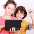 Royalty-Free Stock Photo: Two attractive sisters with computer