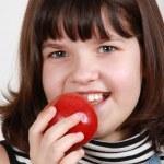 Eating apple — Stock Photo