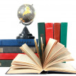 Open book and grey globe — Stock Photo