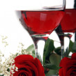Beautiful  Valentines Roses and Wine - Stock Photo