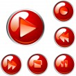 Red vector player buttons — Imagen vectorial