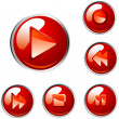 Red vector player buttons — Vettoriali Stock