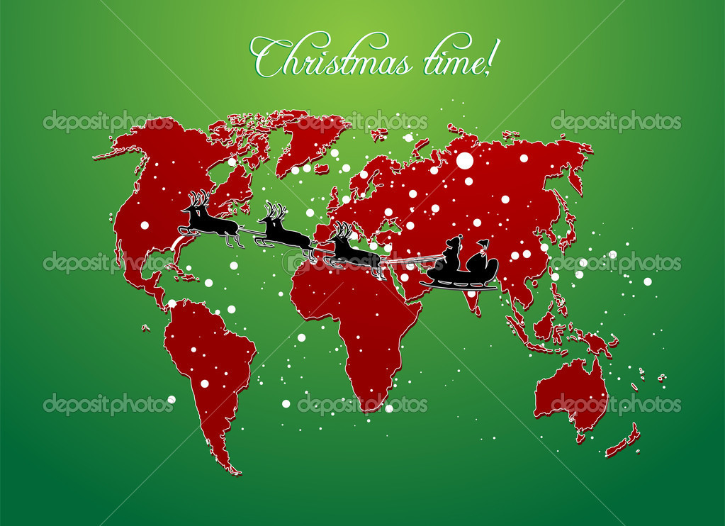 Christmas map vector — Stock Photo #2186691