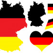 Germany map with flag and heart — Stock Vector