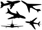 Set of various aeroplanes illustration — Stock Vector