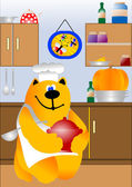 Kitchen scene with cooking cat chef — Stock Vector