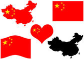 China map with flag and heart — Stock Vector