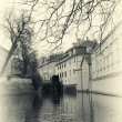 Stock Photo: Water mill in Prague retro photo