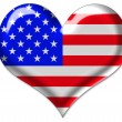 USA flag in heart — Stock fotografie