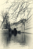 Water mill in Prague retro photo — Stock Photo