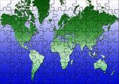 Pussel världskarta — Stockfoto