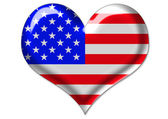 USA flag in heart — 图库照片