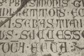 Medieval latin catholic inscription — Foto de Stock