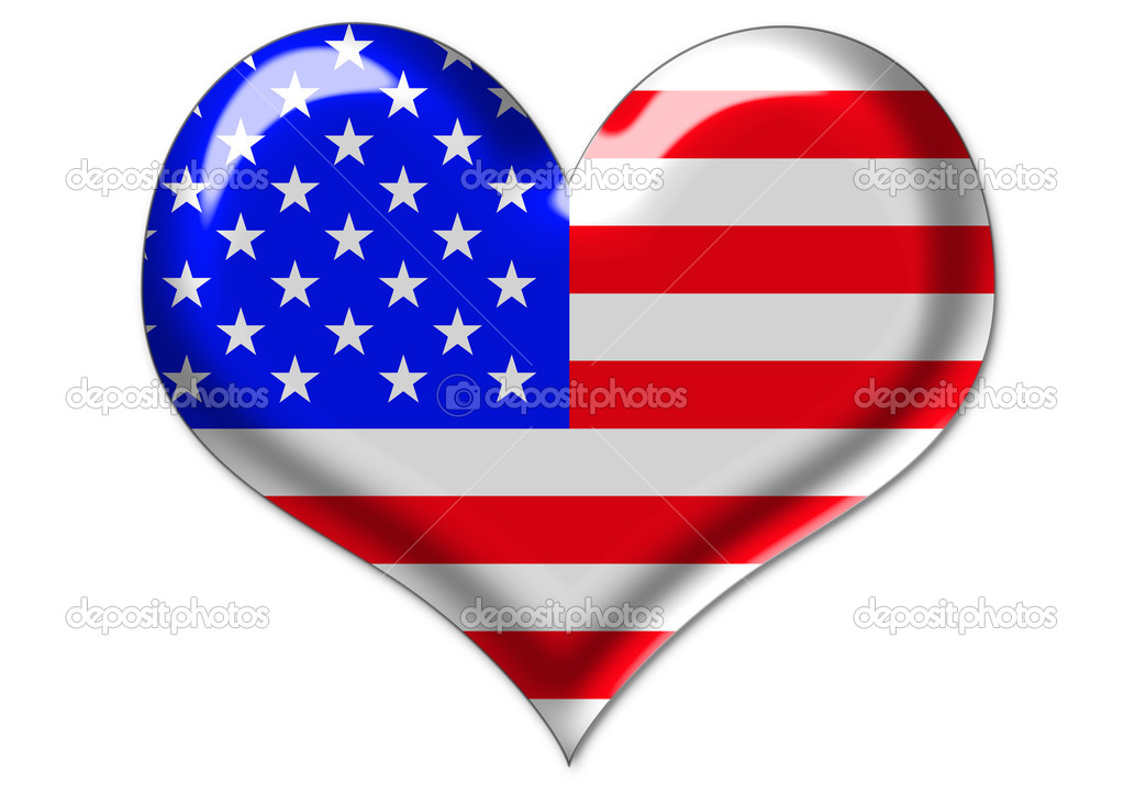 Computer-generated illustration of USA flag in glass heart — Stock Photo #1216597