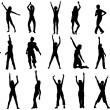 Dancing girls in action vector - Stock Vector