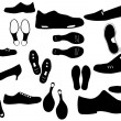 Footwear and footsteps vector — Stock Vector