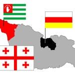 Georgia, Abkhazia, Ossetia maps — Stock Vector