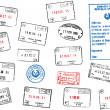 Set of different passport visa stamps — Stock Vector