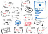 Set of different passport visa stamps — 图库矢量图片