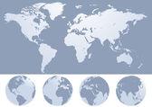 World map silhouette illustration — Stock Vector