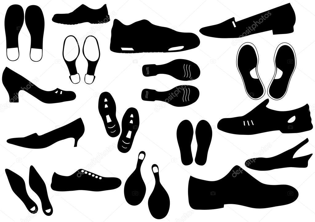 组不同鞋类和脚步声矢量图 — 矢量图片作者 alehnia