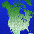 Puzzle North America map illustration — Stok fotoğraf