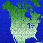 Puzzle North America map illustration — Stock Photo
