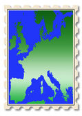 Europe map illustration on stamp — Stock Photo