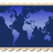 World map illustration on stamp — Stock Photo