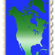 North America map illustration on stamp — Stock Photo