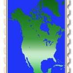 North America map illustration on stamp — Stock Photo