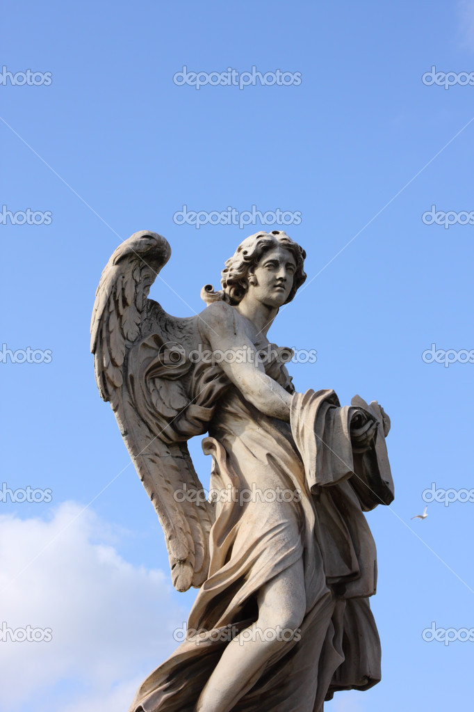 Famous Bernini angel sculpture on San Angelo bridge in Rome,Italy — Stock Photo #1236084