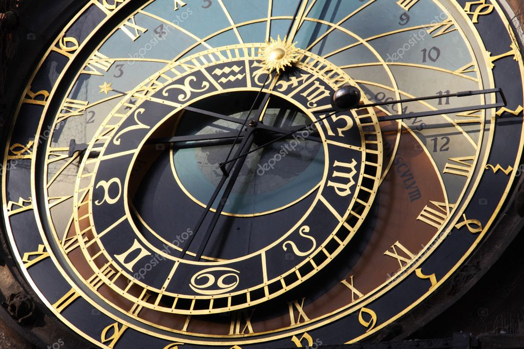 Famous old medieval astronomical clock in Czech capital Prague — Stock Photo #1239739