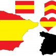 Spain map with flag and heart — Stock Vector #1236901