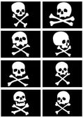 Pirate flags with skulls and crossbones — 图库矢量图片