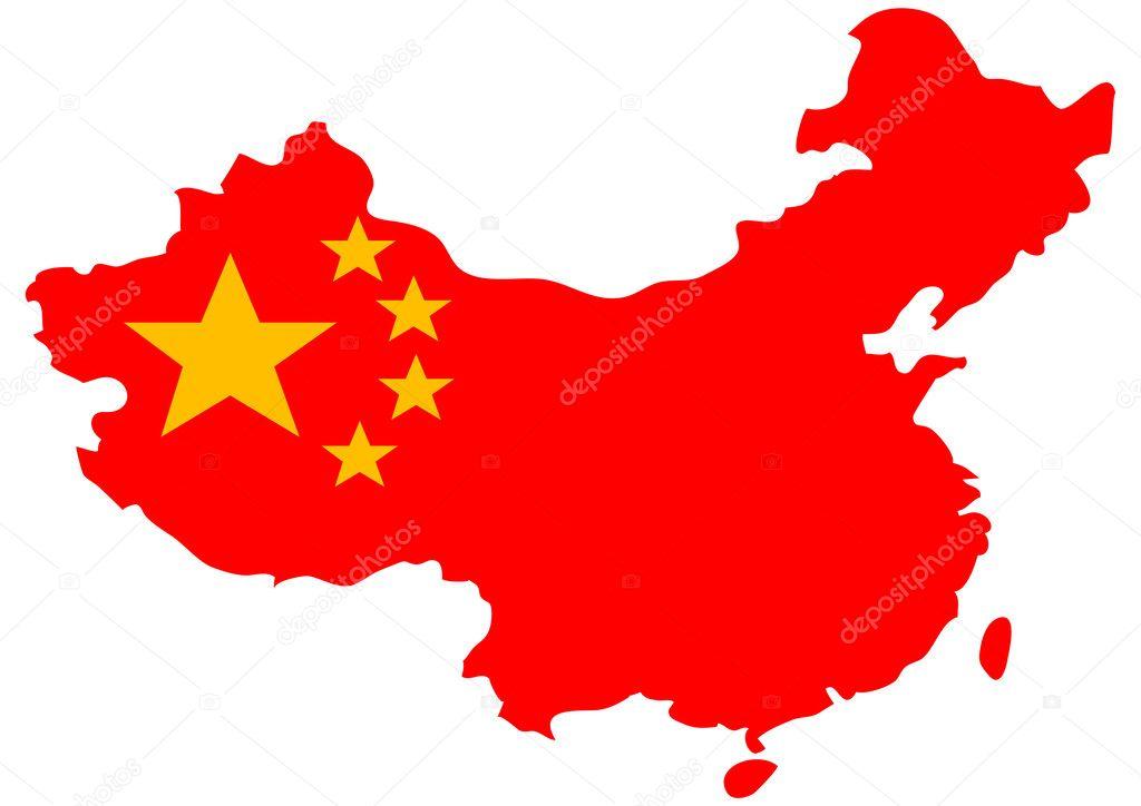 地图上的中国国旗