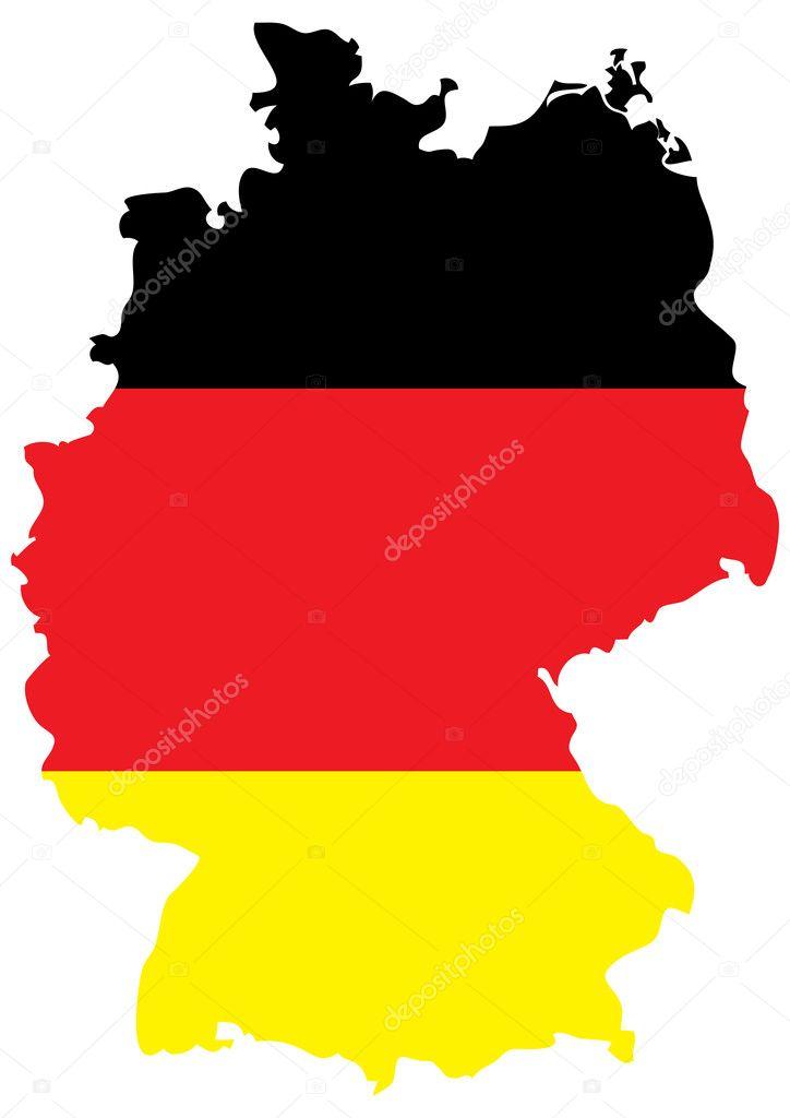 德国国旗在全国地图上的明亮的孤立的矢量图
