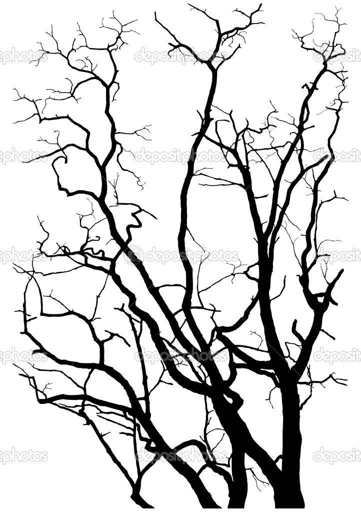 Tree branches silhouette vector illustration  Imagen vectorial #1236977