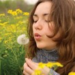 Beautiful woman blowing dandelion seeds — Stock Photo
