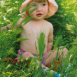 Little girl sitting in a green grass — Foto Stock