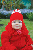 Little girl in red clothes — Stock Photo