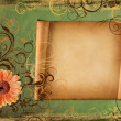 Frame on vintage green paper — Stock Photo